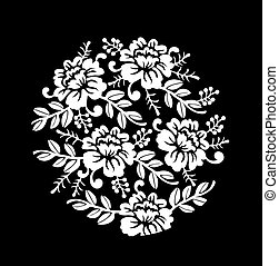 Vintage black and white Floral crown Vector summer roses silhouette pattern. Hand drawn illustration
