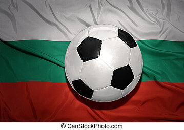 black and white football ball on the national flag of bulgaria