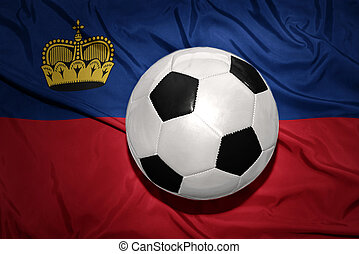 black and white football ball on the national flag of liechtenstein