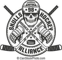 Vintage black and white hockey emblem