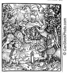 vintage black and white illustration, deer hunt