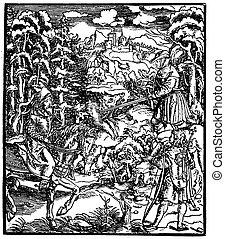 vintage black and white illustration,boar hunt