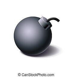 Vintage black bomb icon, cartoon style