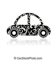Vintage black car with floral ornament for your design