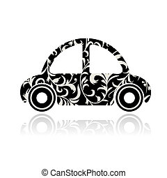 Vintage black car with floral ornament for your design