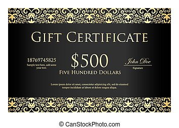 Vintage black gift certificate with golden ornament pattern...