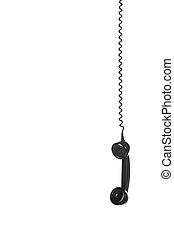 vintage black handset hanging on wire