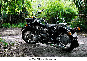 A vintage black motorcycle with tank shifter sits on a path in a tropical setting.