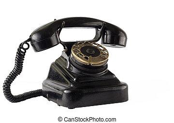 Vintage black phone isolate on white
