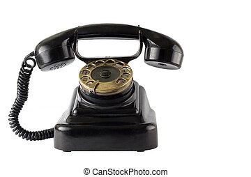 Vintage black phone on white background