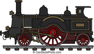 Hand drawing of a vintage black steam locomotive