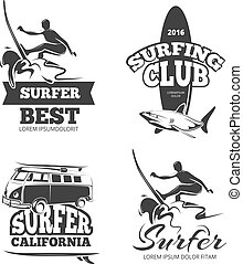 Vintage black surf graphics, emblems and labels. Vector set