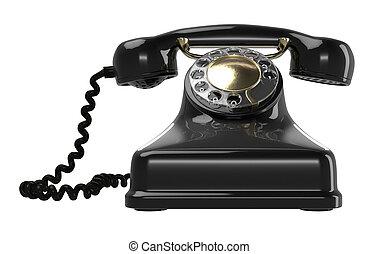 Vintage black telephone isolated on white. Retro 1940 - 1950...