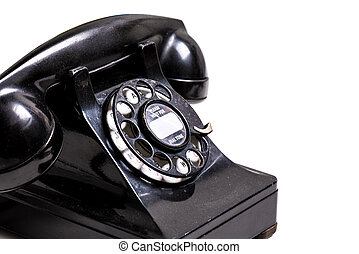 VIntage Black Telephone on white background with copy space