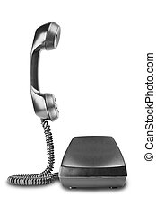vintage black telephone with shadow on white background
