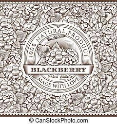 Vintage Blackberry Label On Seamless Pattern