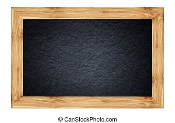 vintage blackboard with wooden frame isolated on white background.