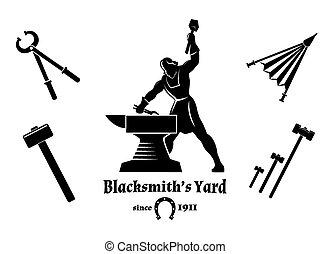 Vintage blacksmith. Hammer and tongs, anvil and craft, logo...