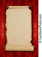 Vintage blank aged paper scroll. Antique style parchment manuscr