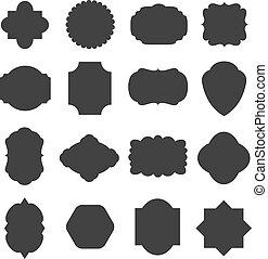 Vintage blank frames badges for emblems and labels. vector set