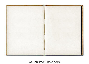 Vintage blank open notebook isolated on white with clipping ...