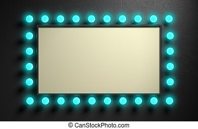 Vintage blank sign with blue lights bulbs on black wall background. 3d illustration