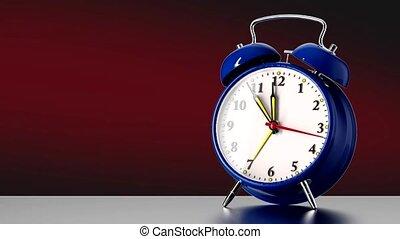 vintage blue alarm clock on red background. Time concept. 3d...