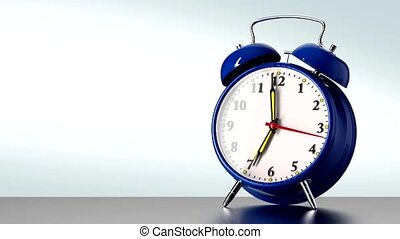 vintage blue alarm clock on white background. Time concept.