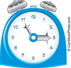 Vintage blue alarm clock, vector illustration