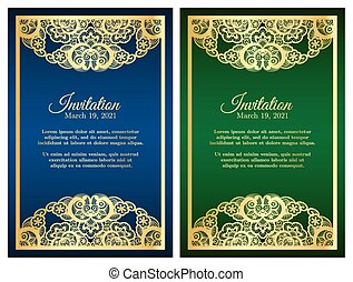 Vintage blue and green invitation cover with golden lace decoration