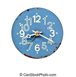 vintage blue and grunge clock dial
