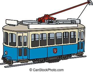 Vintage blue and white tramway - Hand drawing of a vintage...
