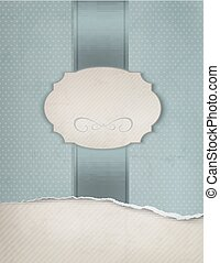 Vintage blue background with ripped old paper. Vector illustration.