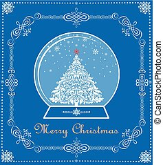 Vintage blue Christmas card with Xmas tree in globe