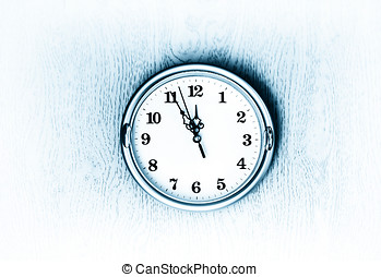 Vintage blue clock on the wall texture background hd