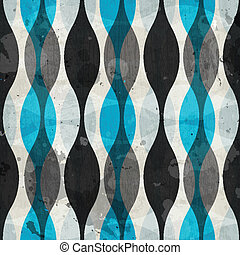 vintage blue curves seamless pattern with grunge effect
