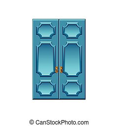 Vintage blue doors isolated on white vector