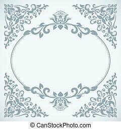 Vintage blue floral frame card vector template.