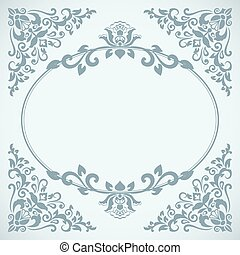Vintage blue floral frame card vector template.
