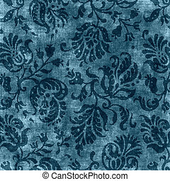 Worn deep blue floral tapestry pattern
