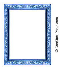 vintage blue frame isolated on white background, with clipping p