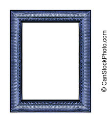 Vintage blue frame with blank space, with clipping path,...