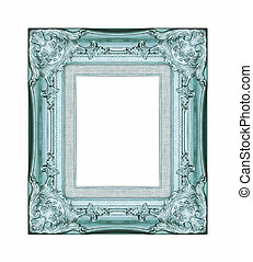 Vintage blue frame with blank space, with clipping path