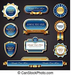 Vintage blue gold frame vector banners