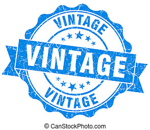vintage blue grunge seal isolated on white