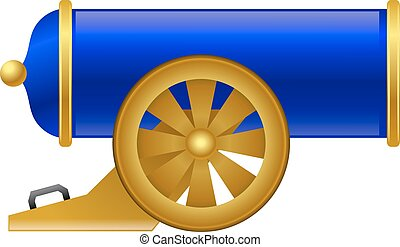 Vintage blue gun. Color image of medieval gun on a white background. Cartoon style. The