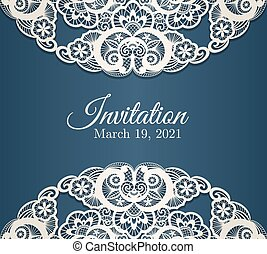 Vintage blue invitation cover with cream lace decoration