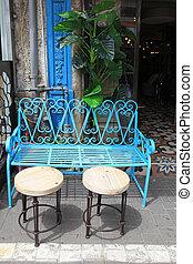 Vintage blue iron furniture at Jaffa flea market in Tel Aviv