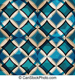 vintage blue mosaic seamless pattern with grunge effect