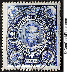 Vintage blue postmarked postage stamp of 1910 from the Union...